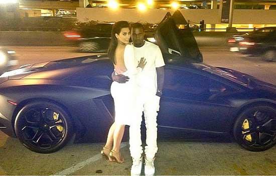 Kanye West Kim Kardashan Lamborgini Aventador
